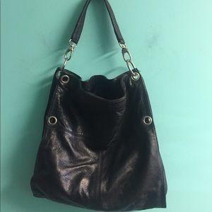 Lavorazione artigiana leather black purse bag